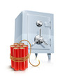 close metallic safe with bomb vector illustration isolated on