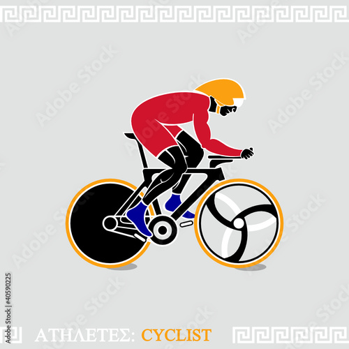 Greek art stylized speed track cyclist