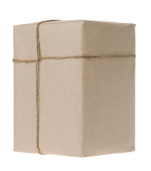 parcel wrapped isolated on white background