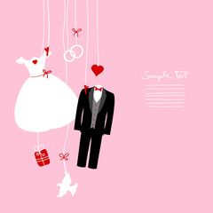 Hanging Wedding Symbols Pink Background