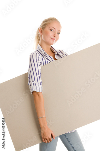 Woman with board banner
