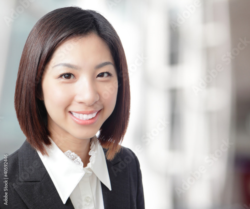 Close up of beautiful business woman smile face