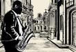 saxophonist in a street of Cuba - 40592655