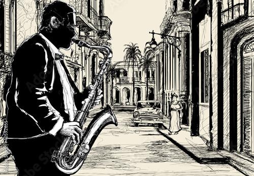 Poster Muziekband saxophonist in a street of Cuba