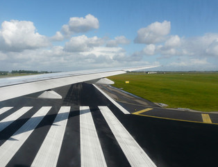wing view on runway