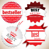Bestseller. Red  labels. Vector set