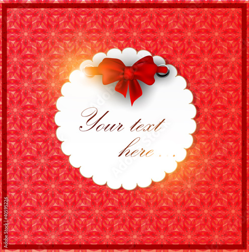 White invitation on red background