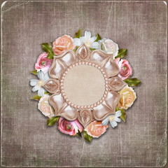 Vintage background with retro frame and flowers