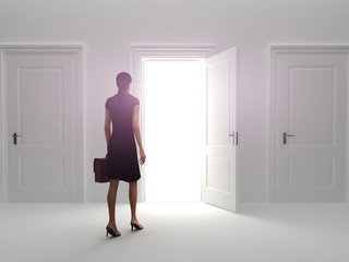 Door to success, Business female walking to a open door.