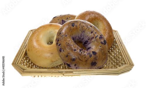 Fotobehang Brood Group of bagels in basket
