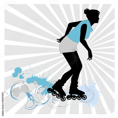 Vector drawing a girl on roller-skates