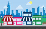 Store front strip mall stores and city skyline