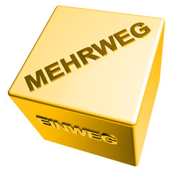 3D Goldwürfel - EINWEG - MEHRWEG