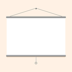 Portable projector screen hanging on the wall