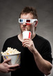 Man watching 3D movie