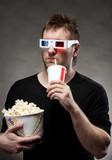 Man watching 3D movie