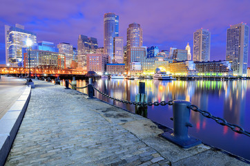 Boston Harbor and Financial District Skyline