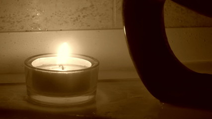 Close-up of candle on sauna
