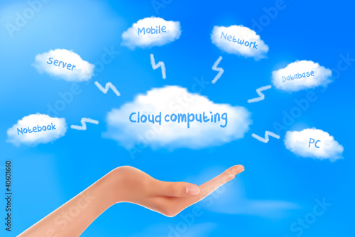 Hand with cloud computing diagram