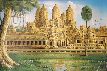 Angkor Wat's oil paining on canvas