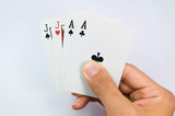 game of cards with poker of jack and aces