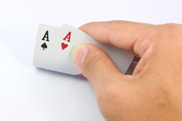 game of cards with poker of aces
