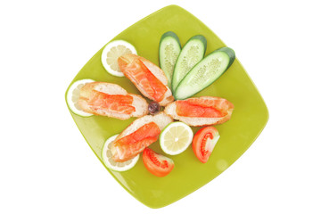 salmon on green plate