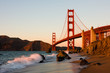 canvas print picture - Golden Gate Bridge in San Francisco at sunset
