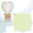delicate baby boy shower card with teddy bear