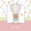 delicate baby girl shower card with teddy bear