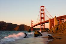 "Постер, картина, фотообои ""Golden Gate Bridge in San Francisco at sunset"""