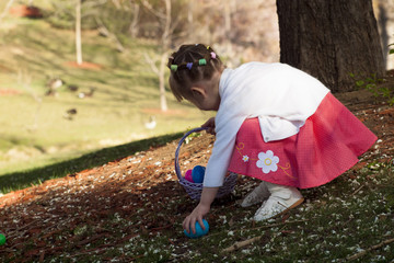 Toddler on Easter Egg Hunt