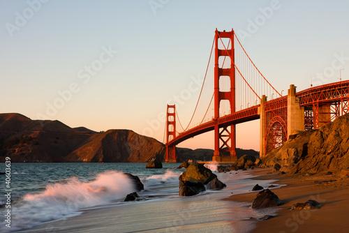 Poster Golden Gate Bridge in San Francisco at sunset