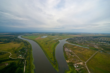 Aerial view on the river