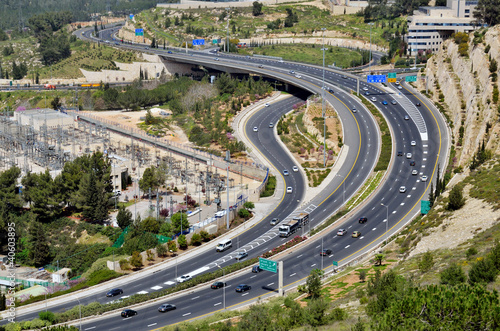 highway with many cars in Jerusalem, top view