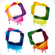 Multicolored glossy speech bubbles with drops