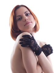 Beauty naked woman portrait in lacy gloves