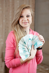 happy  girl with many  roubles