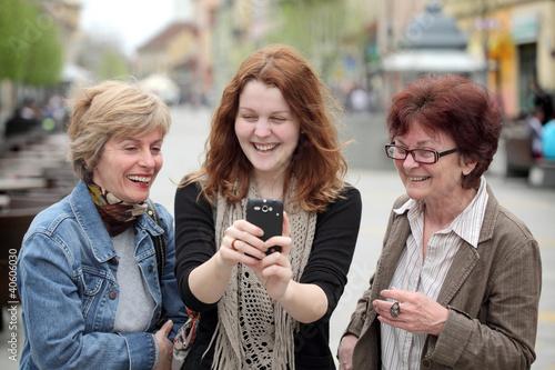 Family making fun at street