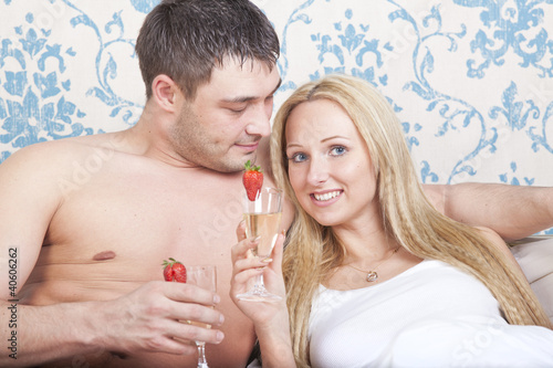Couple with sparkling wine