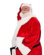Weihnachtsmann hält seinen Bauch