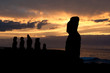 Sunset in Tahai, Easter island (Chile)