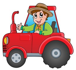 Cartoon farmer on tractor