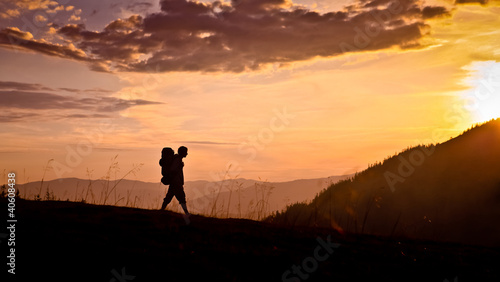 hiker on sunset