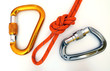 Climbing equipment - carabiners and knot