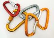 Climbing equipment - five multicolor carabiners