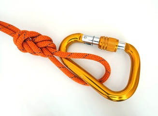 Climbing equipment - detail carabine and knot