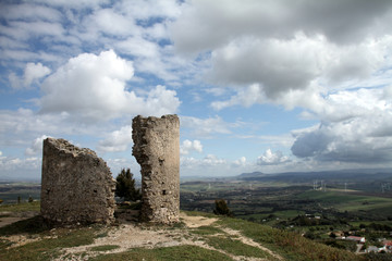 Medina Sidonia, Spain, view ancient crumbling castle turret