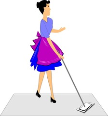 woman mopping the floor in retro style