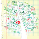 Paper with tree and colorful school symbols